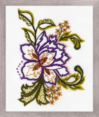 click here to view larger image of Flower Sketch - Crewel Embroidery (counted cross stitch kit)