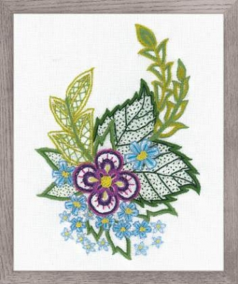 click here to view larger image of Sketch with Cornflowers - Crewel Embroidery (counted cross stitch kit)