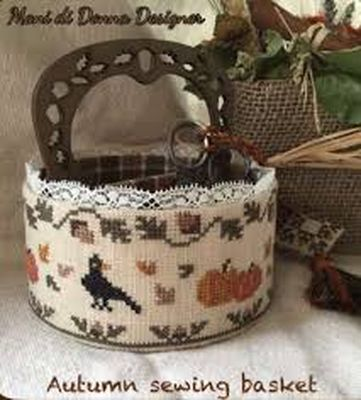 Autumn Sewing Basket - click here for more details about chart with charms/buttons