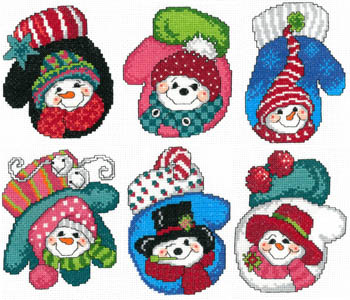 click here to view larger image of Snowman Mitten Ornaments (chart)