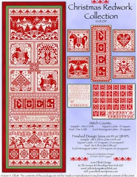 click here to view larger image of Christmas Redwork Collection (chart)