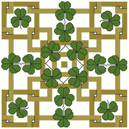 click here to view larger image of Holiday Squares Shamrocks On Gold (chart)