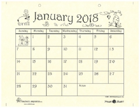 click here to view larger image of 2018 Hand Drawn Calendar (accessory)