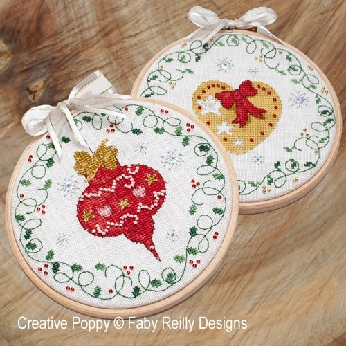 click here to view larger image of Bauble & Heart Hoops (Ornaments) (chart)