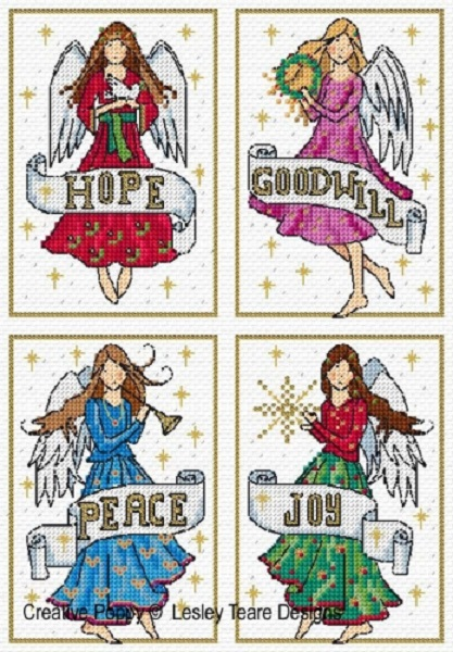 click here to view larger image of Christmas Angel Cards (chart)