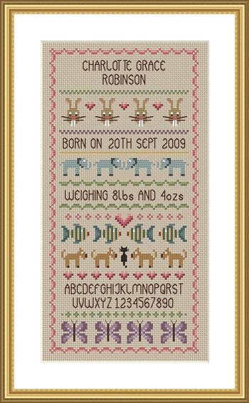 click here to view larger image of Baby Girl Birth Sampler (chart)