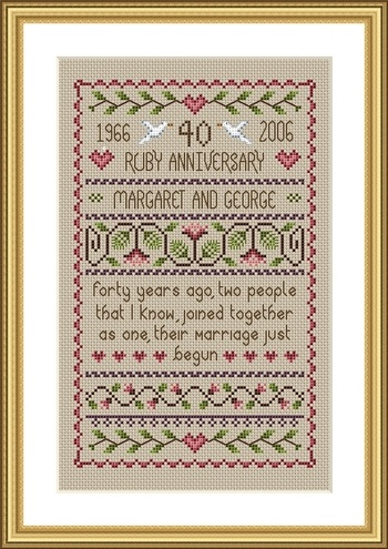 click here to view larger image of Ruby Anniversary Sampler (chart)