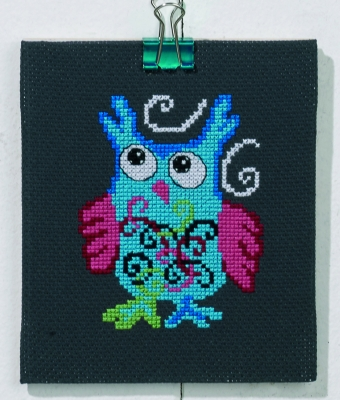 click here to view larger image of Blue Owl (counted cross stitch kit)
