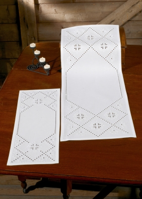 click here to view larger image of Handanger Runner (Left Image) (Hardanger and Cut Work)