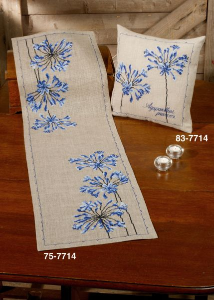 click here to view larger image of Agapanthus Pillow (Right Image) (counted cross stitch kit)