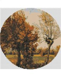 click here to view larger image of Autumn Landscape with Four Trees (Circle Chart) (chart)