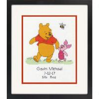 click here to view larger image of Winnie The Pooh Birth Record (counted cross stitch kit)