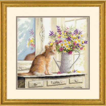 click here to view larger image of Kitten in the Window - 18 count (counted cross stitch kit)