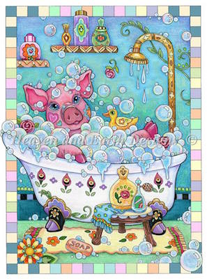 click here to view larger image of Piggy In a Bubble Bath (chart)