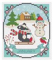 click here to view larger image of January - A Year of Animal Fun & Frolics (chart)