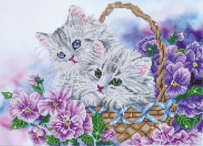 click here to view larger image of Kitty Basket (Diamond Embroidery)