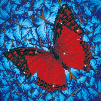 click here to view larger image of Flutterby Red (Diamond Embroidery)