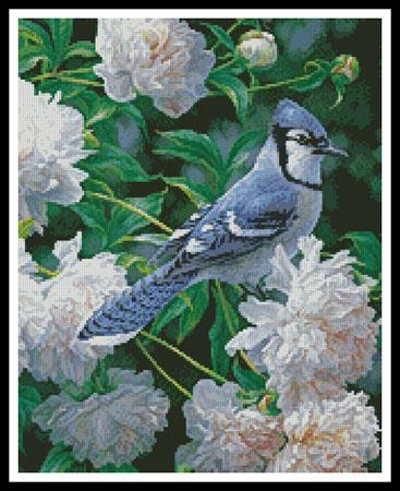 click here to view larger image of Blue Jay in Peonies (Crop) (chart)