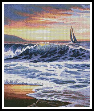 click here to view larger image of Beach Sunset Lighthouse (Crop)  (chart)