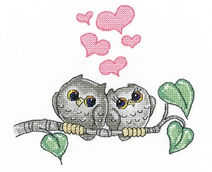 click here to view larger image of Hearts & Feathers - Peter Underhill Collection (Evenweave) (counted cross stitch kit)