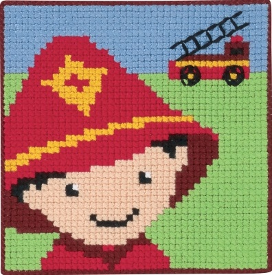 click here to view larger image of Fire Fighter - Childrens Kit (counted canvas kit)