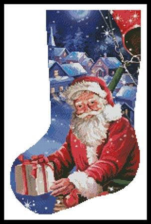 click here to view larger image of Santa in a Hot Air Balloon Stocking (Left) (chart)