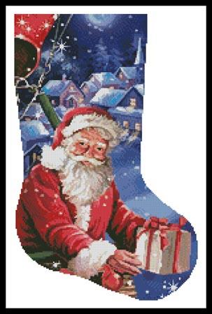 click here to view larger image of Santa in a Hot Air Balloon Stocking (Right)  (chart)