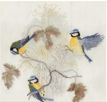 click here to view larger image of Blue Tits and Seed Heads (counted cross stitch kit)