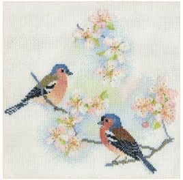 click here to view larger image of Chaffinches and Blossom (counted cross stitch kit)