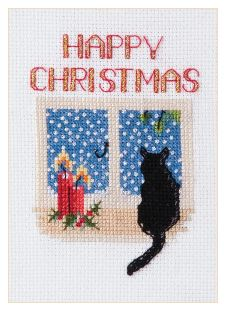 click here to view larger image of Christmas Card - Christmas Cat (counted cross stitch kit)