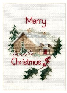 click here to view larger image of Christmas Card - Christmas Cottage (counted cross stitch kit)