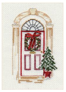 click here to view larger image of Christmas Card - Christmas Door (counted cross stitch kit)