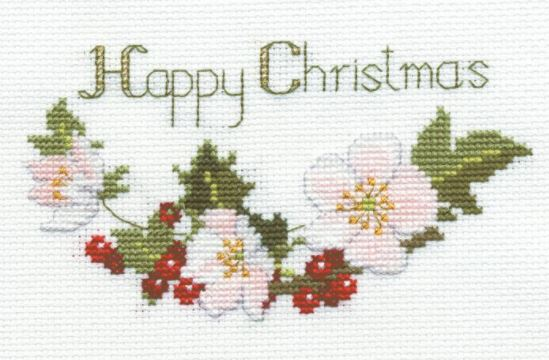 click here to view larger image of Christmas Card - Christmas Roses (counted cross stitch kit)