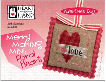 click here to view larger image of Merry Making Mini - Floral Heart (Includes Embellishments) (chart with charms/buttons)