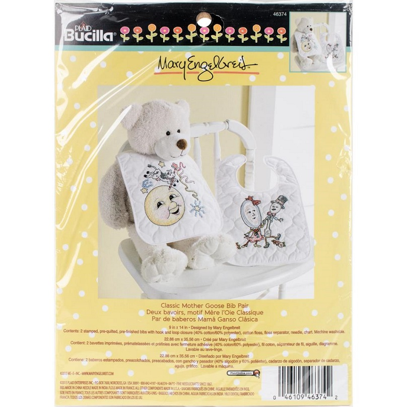 click here to view larger image of Classic Mother Goose Bib Pair (counted cross stitch kit)