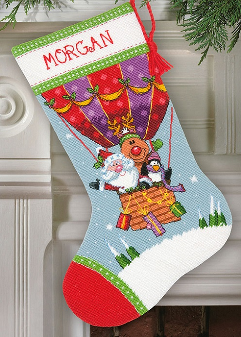 click here to view larger image of Santas Balloon Ride Stocking (needlepoint)
