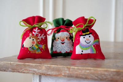 click here to view larger image of Santa/Snowman/Reindeer Bags (Set of 3) (counted cross stitch kit)