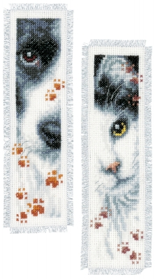 click here to view larger image of Dog and Cat Bookmark (Set of 2) (counted cross stitch kit)