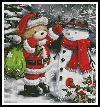 click here to view larger image of Teddy Santa with Snowman (chart)
