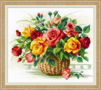 click here to view larger image of Basket with Roses (counted cross stitch kit)