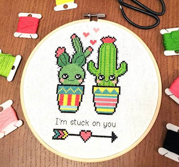 click here to view larger image of Stuck on You Valentine Cactus (chart)