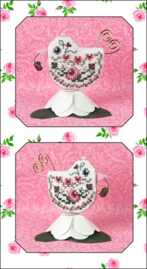 click here to view larger image of Rosebud Tweet - Limited Edition Ornament (chart with charms/buttons)