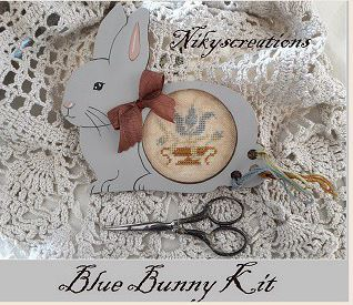 click here to view larger image of Blue Bunny - Limited Edition Kit (counted cross stitch kit)
