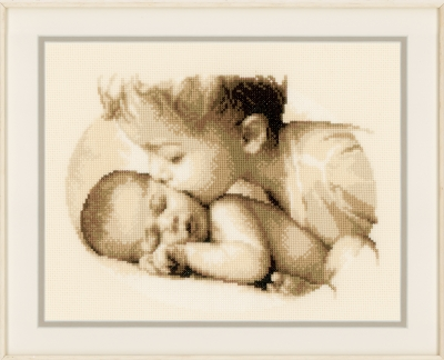 click here to view larger image of Baby and Sister (counted cross stitch kit)