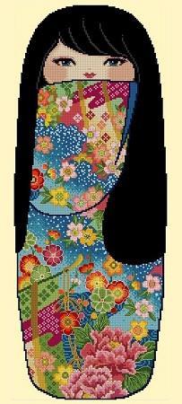 click here to view larger image of Pretty Kokeshi Doll 02 - Mariko (chart)