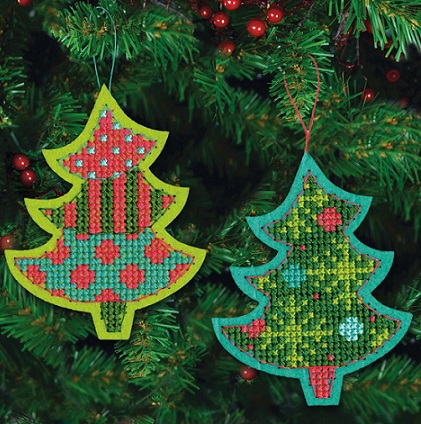 click here to view larger image of Jolly Tree Ornaments (counted cross stitch kit)