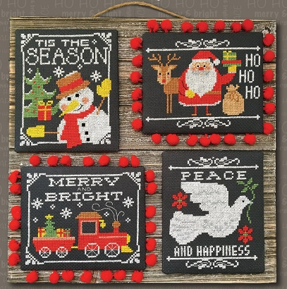 click here to view larger image of Chalkboard Christmas Greetings (4 designs) (chart)