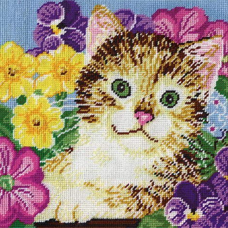 click here to view larger image of Cat in Flowers (needlepoint)