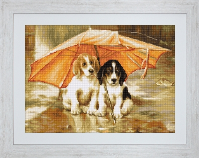 click here to view larger image of Couple Under an Umbrella (counted cross stitch kit)