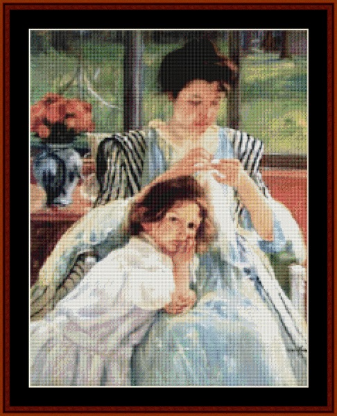 click here to view larger image of Young Mother Sewing (chart)